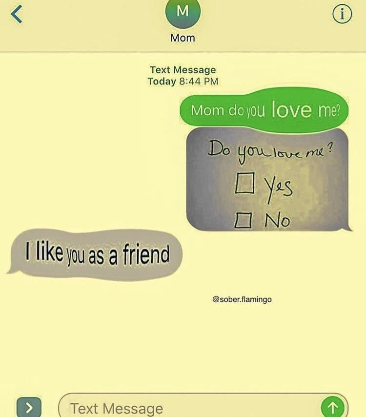 Dank meme making fun of someone asking mom DO YOU LOVE ME and she answers I LIKE YOU AS A FRIEND