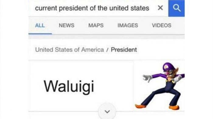 funny dank meme of WAluigi being the current president of the USA