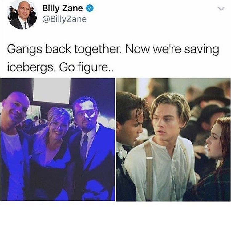 Funny meme about the Titanic cast (Kate Winslet, Leonardo DiCaprio, Billy Zane) being back together and saving icebergs instead of dealing with the Titanic iceberg.