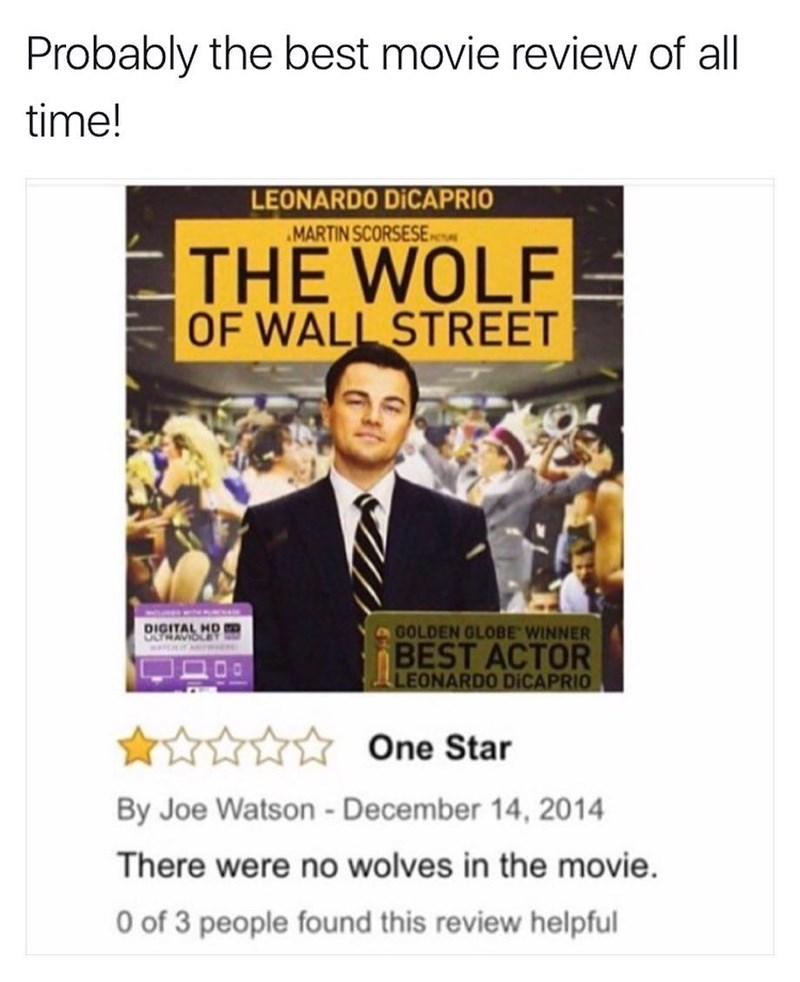 Funny meme of a movie review of Wolf of Wallstreet starring Leonardo DiCaprio, bad review because there were no wolves in the movie.