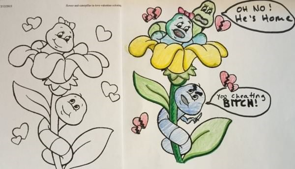 Caterpillar coloring page turned into dirty image