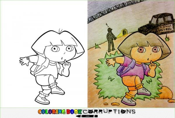 Dora the Explorer coloring page made to look like she is sneaking across the border wall.