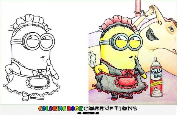 Innocent coloring page of Minions made into inappropriate house made image.