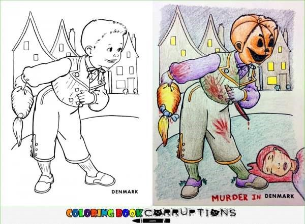 Coloring page of Denmark boy made into a Halloween version.