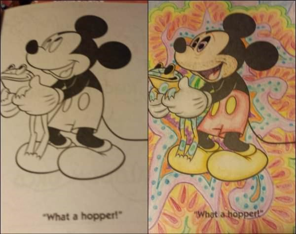 Coloring page of Micky Mouse made to look like an acid trip.