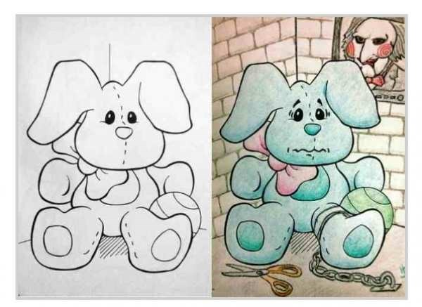 Coloring page of a cute bunny made to look like he is prisoner in a dungeon.