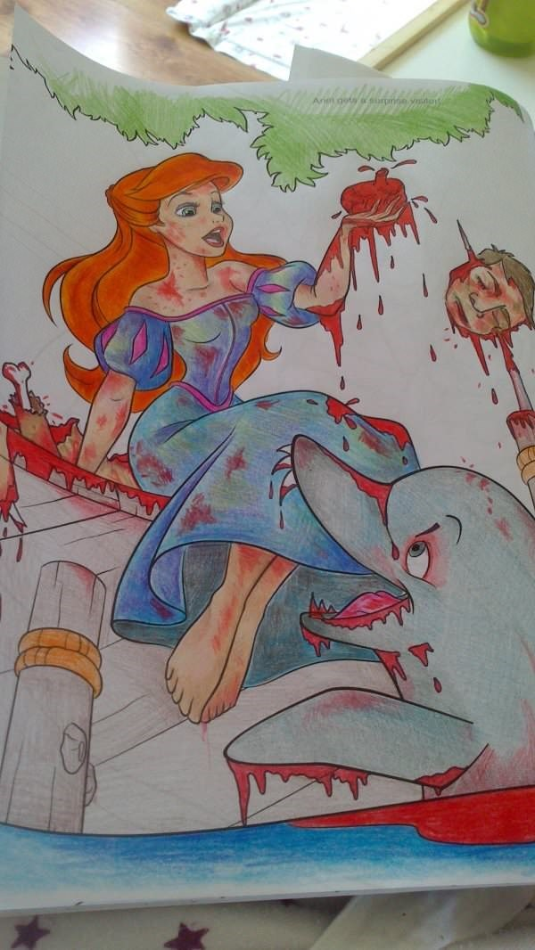 Coloring page of Ariel the mermaid girl as brutal and bloody scene.