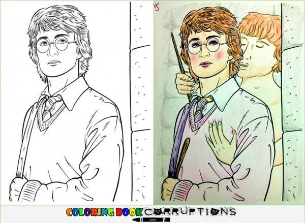 Harry Potter coloring page made with some disturbing looking alterations.