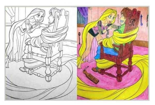 Coloring page of Disney scene made to look much more adult.