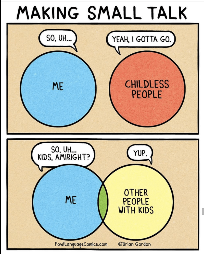 Hump day meme about making small talk with childless people VS with other people with kids.