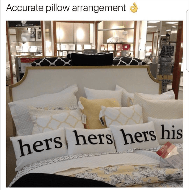 Hump day meme of the overplayed joke about woman have more than their fair share of the bed.