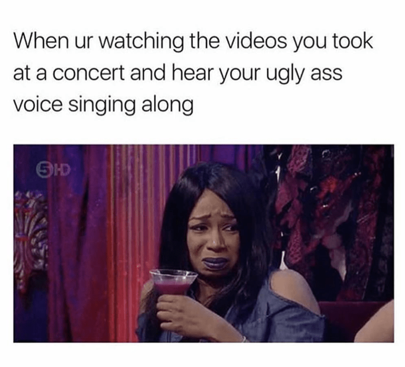 Horrified meme of hearing your self singing at a concert.