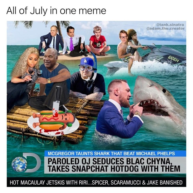 Funny meme that combines all the memes of July into one giant meme.