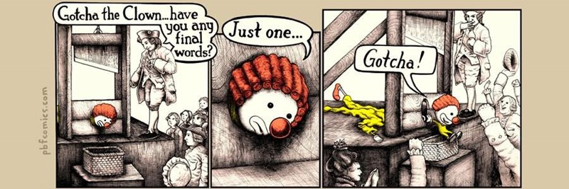 Webcomic of the execution of Gotcha the Clown