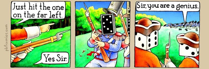 Funny webcomic of dice beating the dominos in battle.
