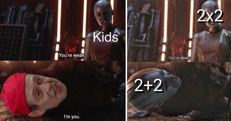 "Funny avengers memes, Nebula ""you're weak"" I'm you, thanos, avengers: endgame memes, dank memes."