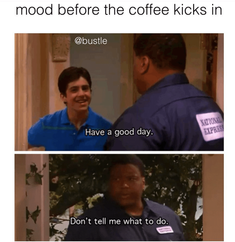 funny meme about being in a mood before you have your coffee, telling people 'don't tell me what to do' hen they say have a good day.