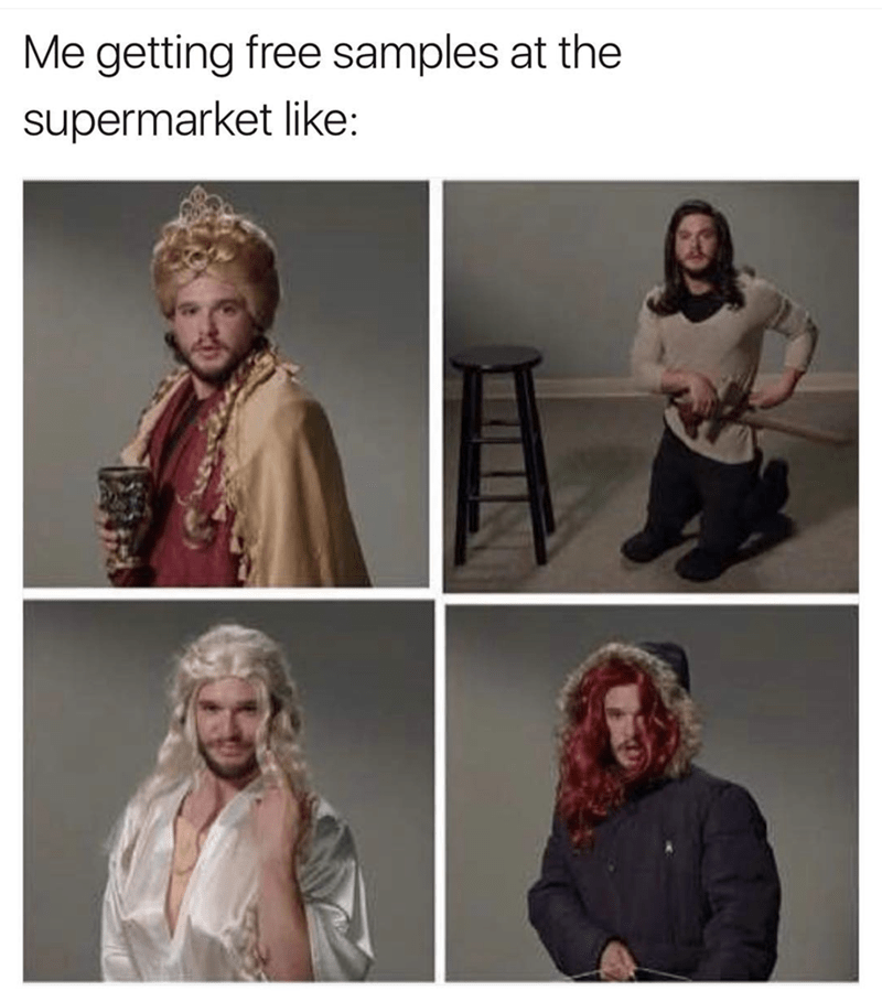 Kit Harrington dressed as various Game Of Thrones characters NOT JON SNOW in a meme about getting free samples at the supermarket.