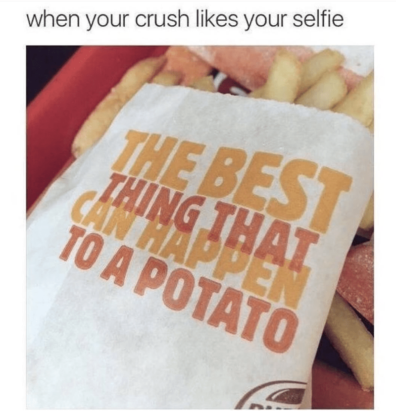 Meme of Burger King frieds The Best Think That Can Happen To A Potato as how it feels when your crush likes your selfie.