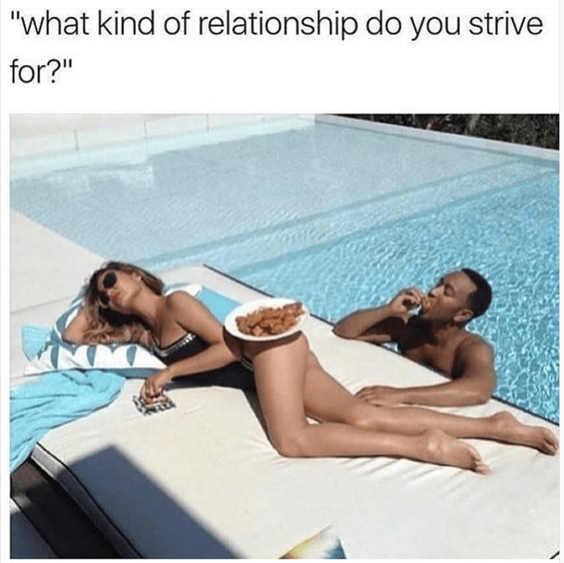 Relationship meme of eating chicken nuggets of her bathing suit.