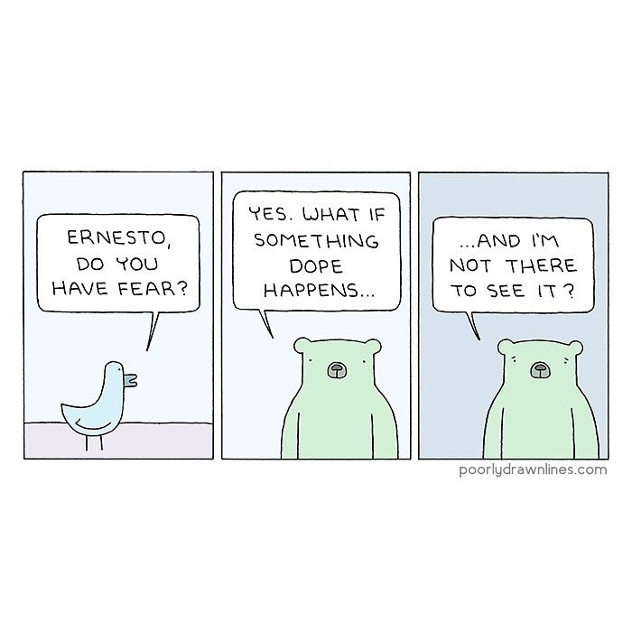 Funny web comic about fear of missing out - FOMO.