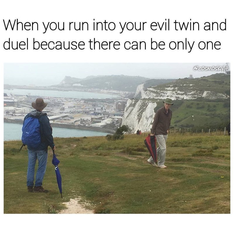 Funny meme about seeing your evil twin and dueling, two old men with funny hats and umbrellas on a cliff.