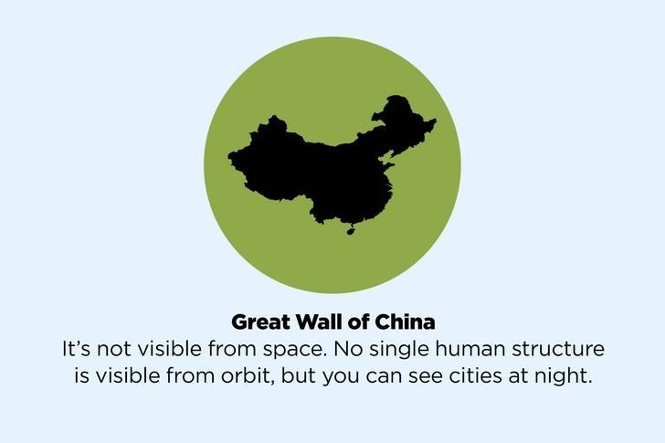 Logo - Great Wall of China It's not visible from space. No single human structure is visible from orbit, but you can see cities at night.