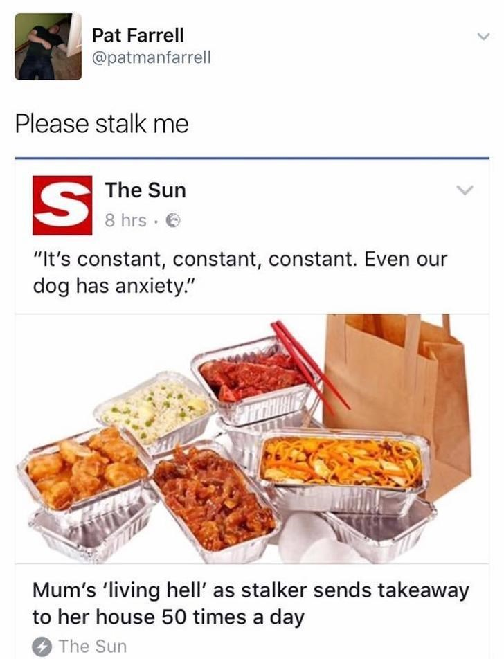 """funny scottish posts on twitter Please stalk me S The Sun 8 hrs """"It's constant, constant, constant. Even our dog has anxiety."""" Mum's 'living hell' as stalker sends takeaway to her house 50 times a day The Sun"""
