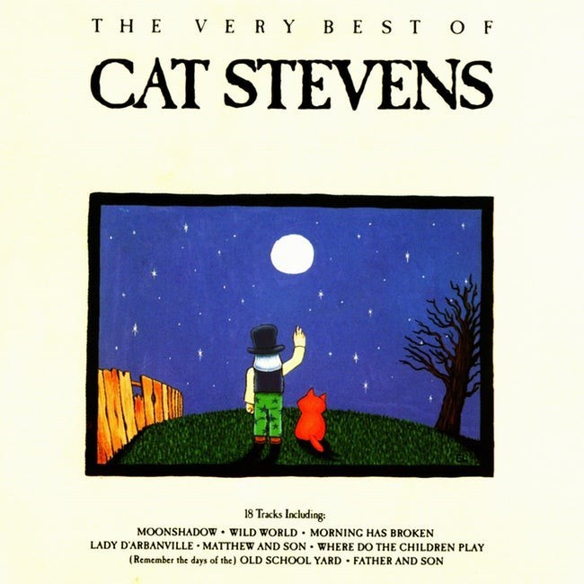 album cover - Cartoon - THE V ERY BE STOF CAT STEVENS 18 Tracks Including MOONSHADOW WILD WORLD MORNING HAS BROKEN LADY D'ARBANVILLE MATTHEW AND SON WHERE DO THE CHILDREN PLAY Remember the days of the) OLD SCHOOL YARD FATHER AND SON