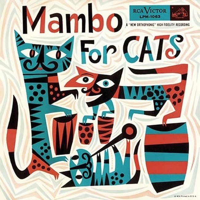 """album cover - Font - Mambo For CATS RCA VICTOR LPM-1063 """"KEW ORTHOPHONIC HIC REITY RECORDING"""