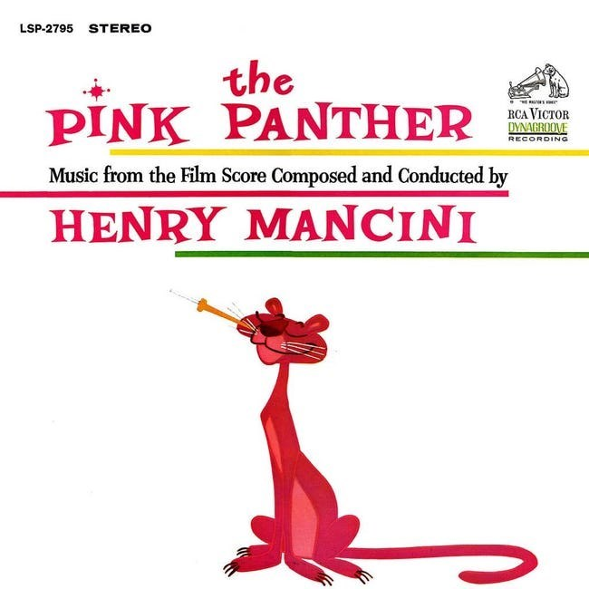 album cover - Text - LSP-2795 STEREO the PINK PANTHER RCA VICTOR DYNAGROOVE RECORDING Music from the Film Score Composed and Conducted by HENRY MANCINI