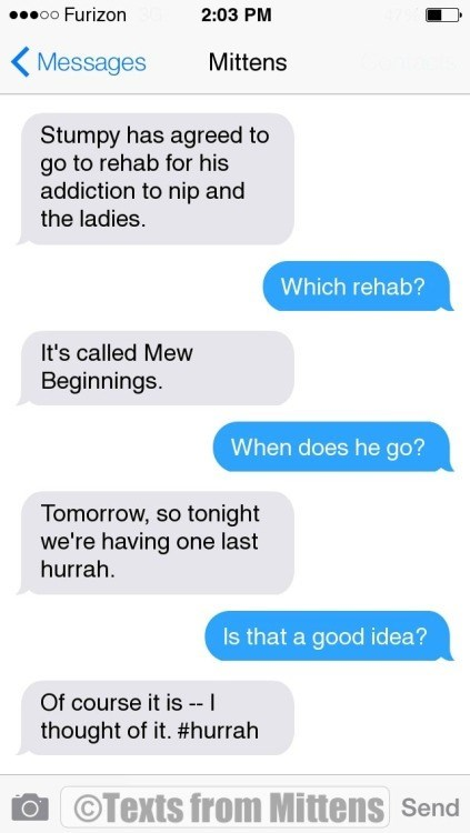 Text - o0 Furizon 2:03 PM Messages Mittens Stumpy has agreed to go to rehab for his addiction to nip and the ladies. Which rehab? It's called Mew Beginnings. When does he go? Tomorrow, so tonight we're having one last hurrah Is that a good idea? Of course it is- I thought of it. #hurrah OTexts from Mittens Send