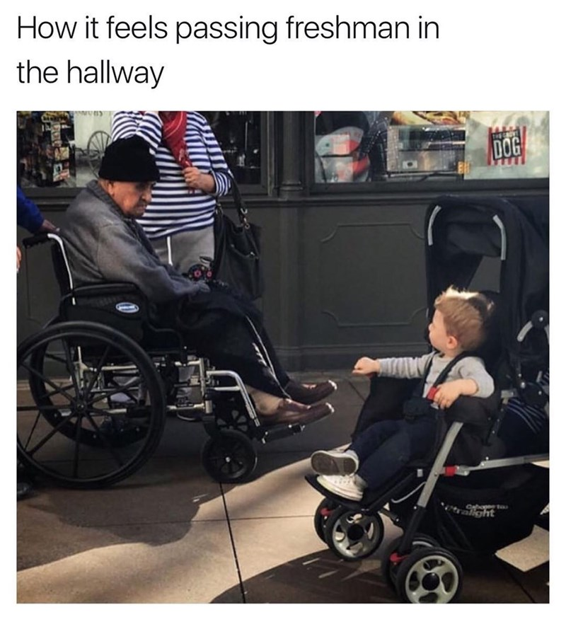 Funny meme about passing freshmen in the hall as a senior, man in wheelchair passes kid in stroller.