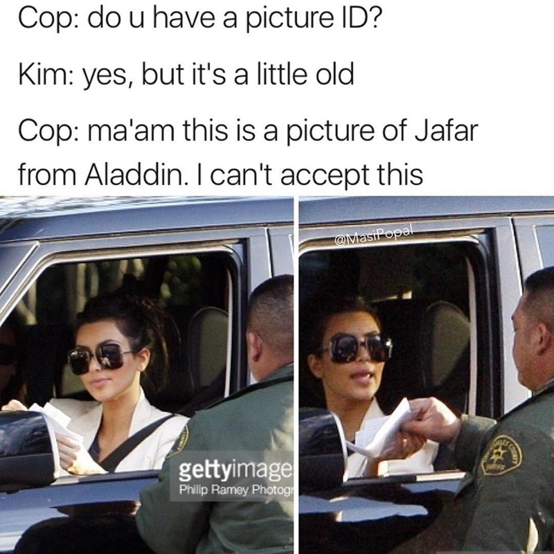 Funny meme about Kim Kardashian's id being mistaken for Jafar from Aladdin.