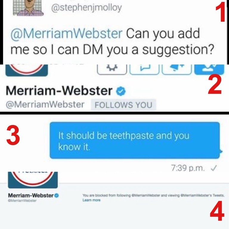 """Funny meme about someone suggesting the dictionary change """"toothpaste"""" to """"teethpaste."""""""