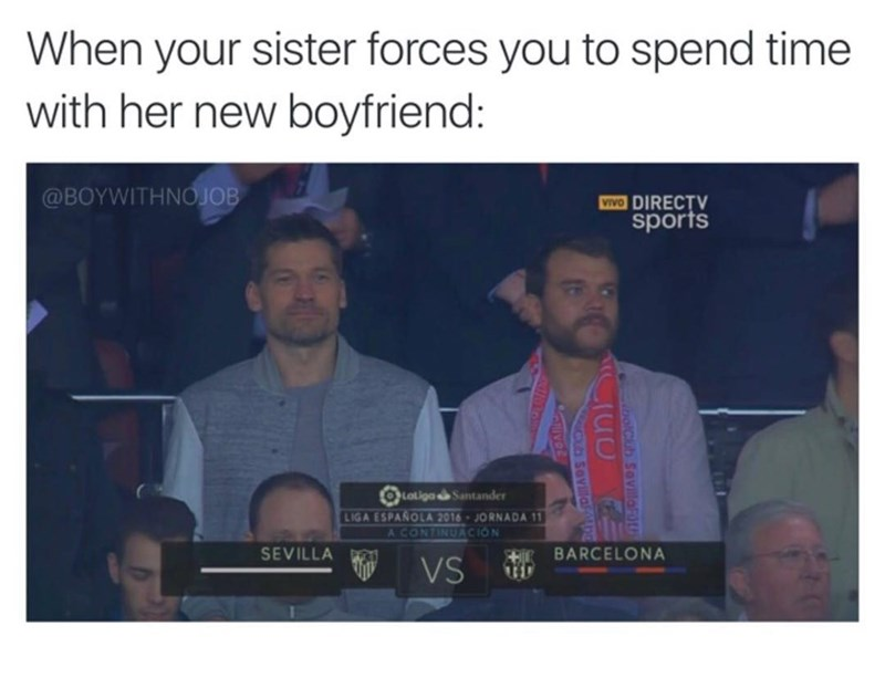 Funny meme of Nikolaj Coster-Waldau and Pilou Asbæk at a soccer/football game, looking bored - when your sister forces you to hang out with her new boyfriend.