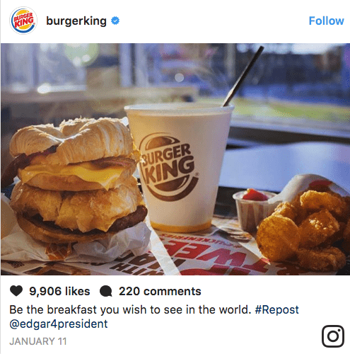 Junk food - RURGER burgerking KING Follow 3URGER KING 9,906 likes Be the breakfast you wish to see in the world. #Repost @edgar4president 220 comments JANUARY 11