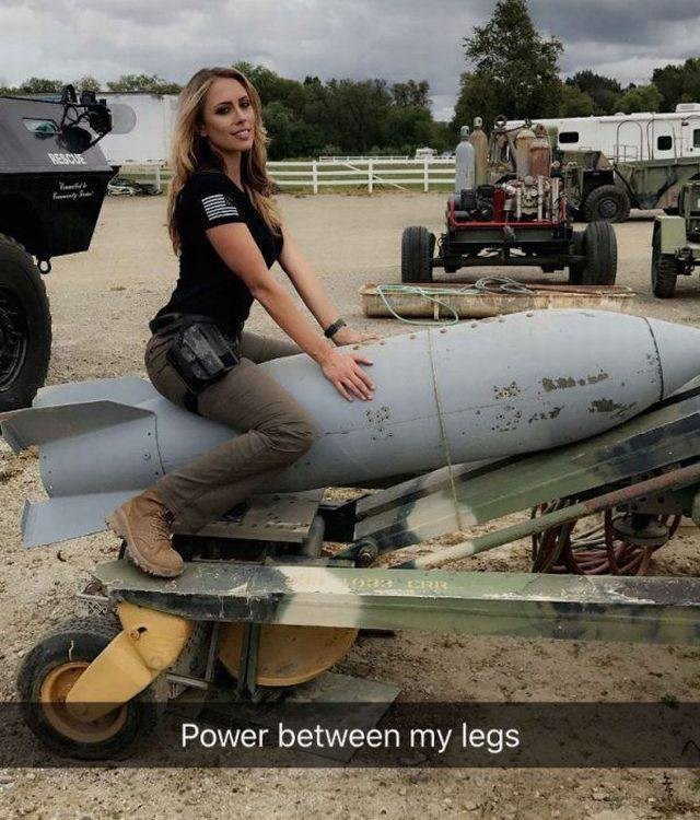 inappropriate meme snapchat of woman on a missile