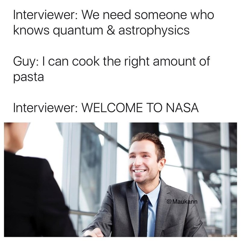 Funny meme about how crazy it is to be able to cook the right amount of pasta.
