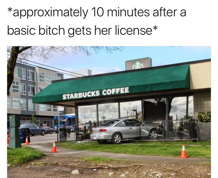 Funny meme about basic bitch crashing car into starbucks.