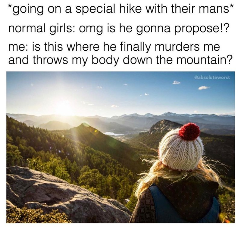 Funny meme about normal girls vs weird girls hiking.