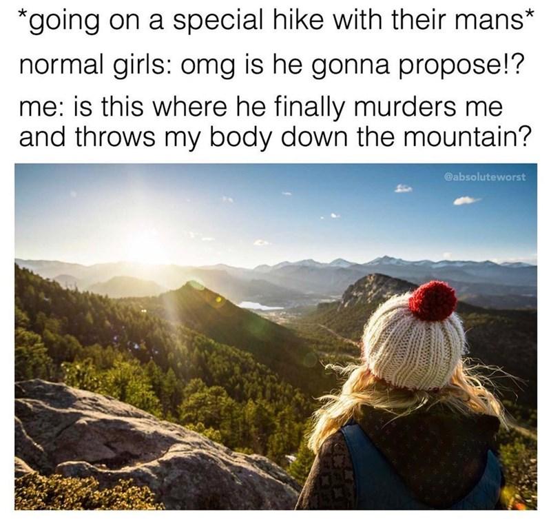 Funny meme about normal girls vs weird girls hiking.