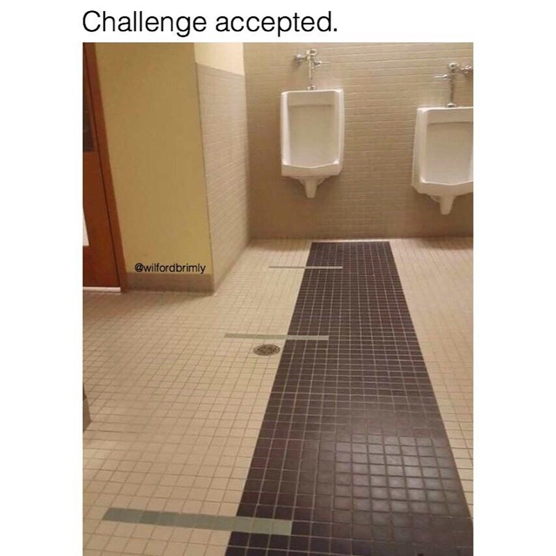 Funny meme about bathroom that looks like it gives you different challenges to aim your pee at great distances.