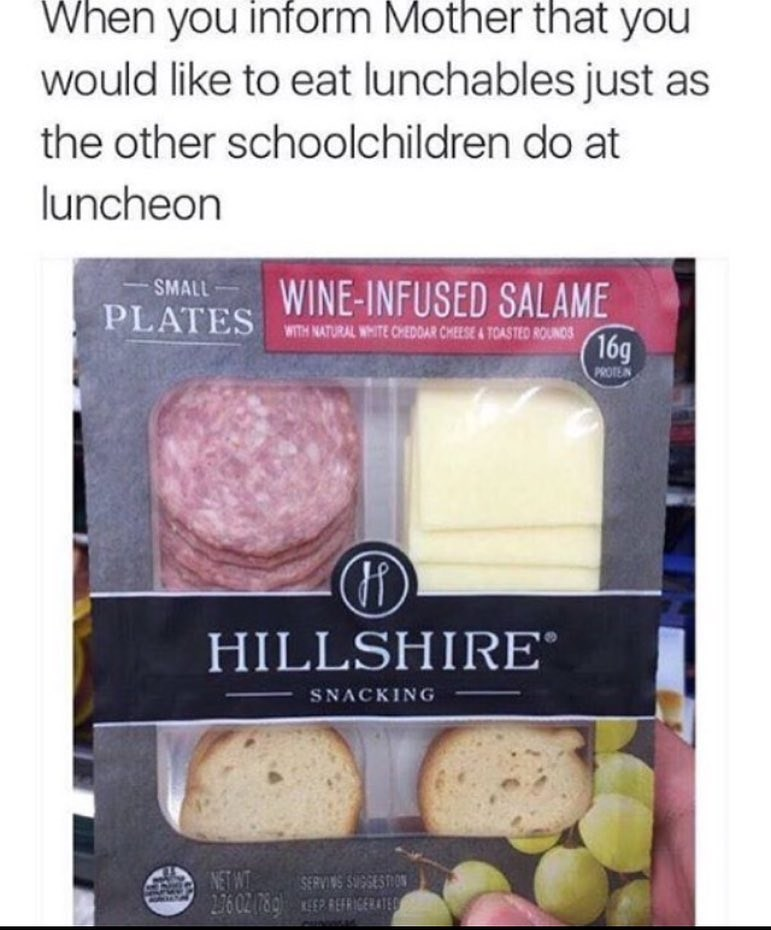 Funny meme making fun of fancy lunchables.