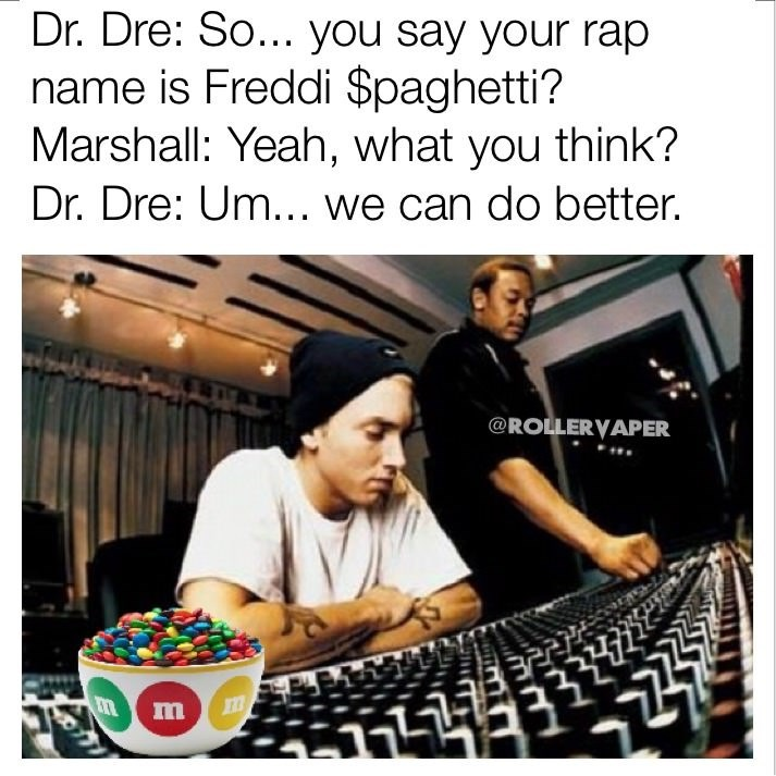 Dank meme of imaginary conversation between Eminem and Dr Dre about his rap name.