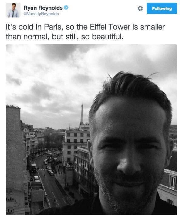 funny meme from Tweet by Ryan Reynolds about how he is in Paris, and it is cold, so the Eiffel tower is smaller than normal