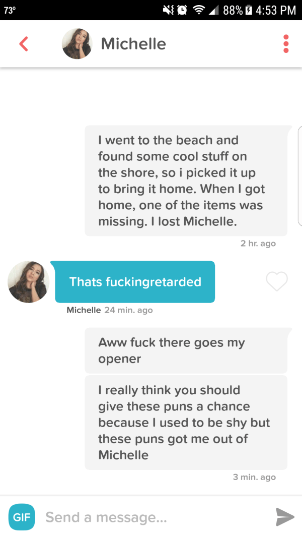 funny tinder - Text - 88% 4:53 PM 730 Michelle I went to the beach and found some cool stuff on the shore, so i picked it up to bring it home. When I got home, one of the items was missing. I lost Michelle. 2 hr. ago Thats fuckingretarded Michelle 24 min. ago Aww fuck there goes my opener Treally think you should give these puns a chance because I used to be shy but these puns got me out of Michelle 3 min. ago GIF Send a message...