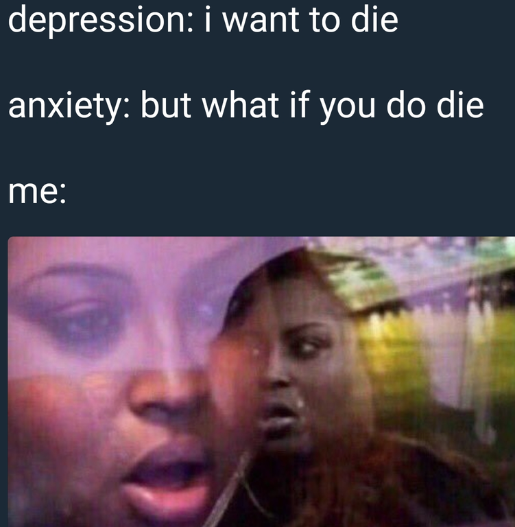 funny meme about conflicts between depression and anxiety issues.