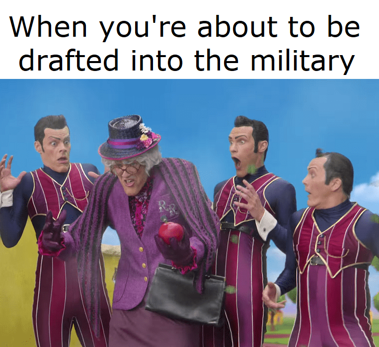 Another meme about cross dressing to avoid being drafted into the military.