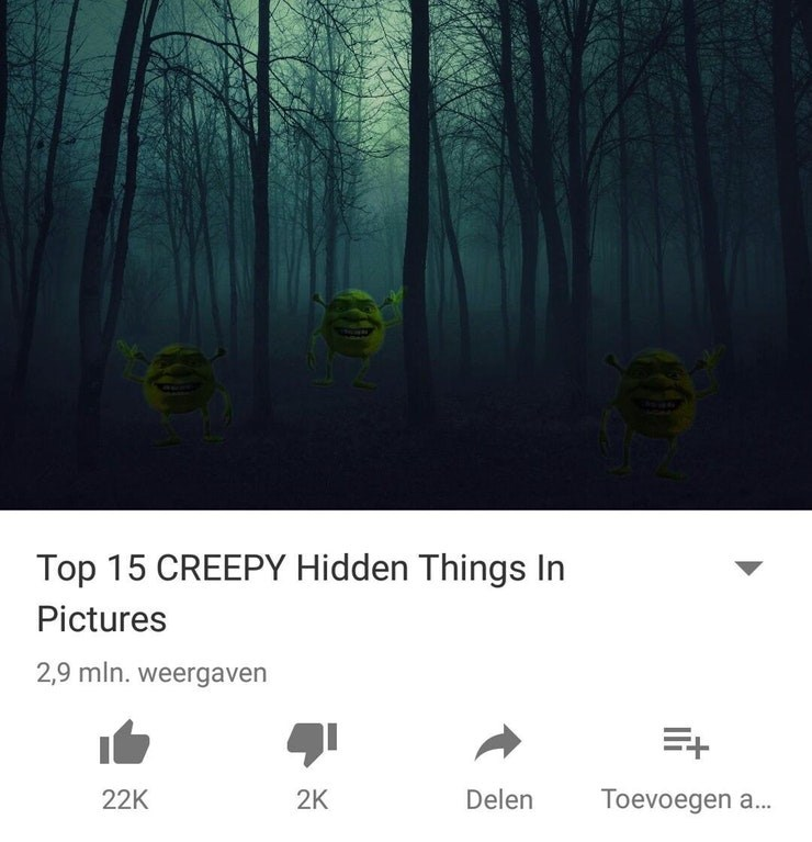 Meme of something creepy hidden in a picture and it is Shrek